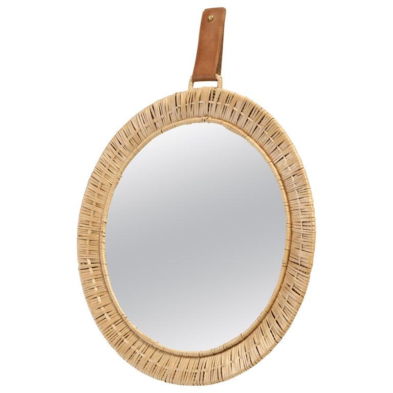 Scandinavian Rattan Mirror, 1950s For Sale