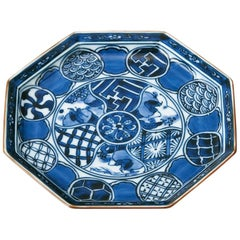 Set of Japanese Imari Blue Porcelain Dessert Plates, Contemporary