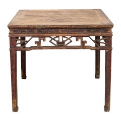 Late 19th Century Square Cypress Wood Table with Hoof Feet