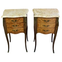 French Louis XV Marble Bombe Commode Bedside Cabinets Tables Set 2
