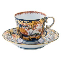 Japanese Contemporary Gilded Ko-Imari Blue Porcelain Cup and Saucer