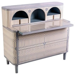 General Giusto Study Table or Writing Desk in Gray and Ivory by Matteo Cibic