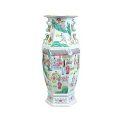 Mid-20th Century, Hexagonal, Baluster Vase, Chinese Ceramic Urn