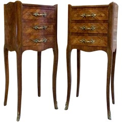 French Louis XV Bombe Commode Bedside Cabinets Tables Tray Top Set 3
