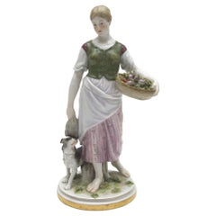 Rare Meissen Porcelain Art Nouveau Figure as a Girl with Dog