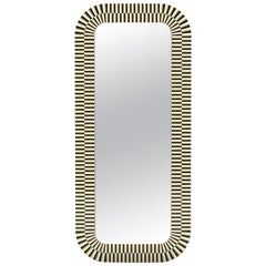 Strike Mirror, Graphic Oversized Mirror in Black and Ivory by Matteo Cibic