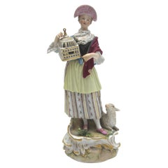 Big Meissen Porcelain Figure as Shepherdess with Birdcage