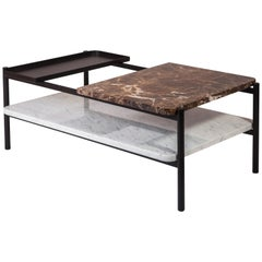 Bagnères Coffee Table Emperador, brown, Marble and Metal Frame/Lower Shelf