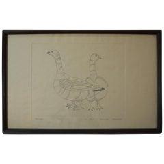 Vintage Eskimo Inuit Print Ptarmigan Kananginak Pootoogook Cape Dorset
