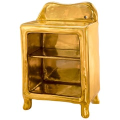 Elation Side Table, Shelved Storage in Brass w Glossy Finish Scarlet Splendour