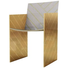 Nesso Dining Chair with Brass and Pearly Inlay in Gray Finish by Matteo Cibic