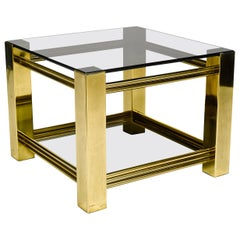 Shining Side Table in Bronze and Smoked Glass, circa 1970