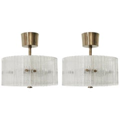 Pair of Ceiling Lights by Carl Fagerlund for Orrefors, 1970s