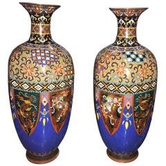 Beautiful Pair of Japanese Cloisonné Enamel Vases, Meiji Period