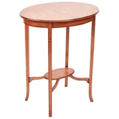 Quality Edwardian Satinwood Inlaid Oval Lamp Table