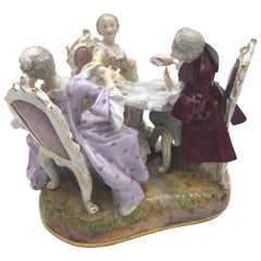 Rare Meissen Porcelain Figure Group as Card Player