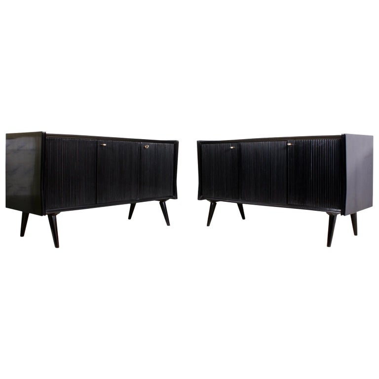 Pair of Midcentury Italian Piano Lacquer Sideboards For Sale