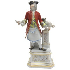 Big Meissen Porcelain Figure Cavalier of the Freimaurer Order with Pug