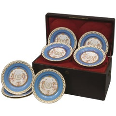 Set of Twelve Sèvres Azure Blue Plates in Their Original Case, circa 1840
