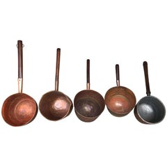 Collection of Five Antique Spanish Handmade and Forged Copper Cook Pans