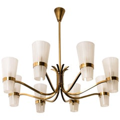 Brass and Wood Sputnik Chandelier in the Style of Hillebrand, 1960s