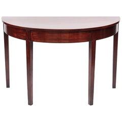 George III Mahogany Demilune Console Table