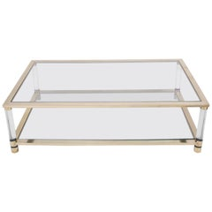 Large Two-Tier Glass and Brass Coffee Table