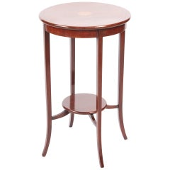 Quality Edwardian Mahogany Inlaid Round Lamp Table