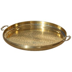 Hand-Hammered Brass Tray with Round Shape Italian Design 1970s Gold Color