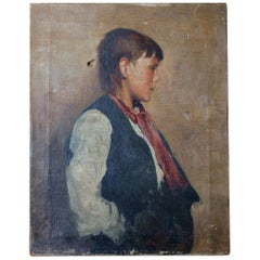 Percy Bedford, An Oil on Canvas Portrait of a Boy, circa 1893