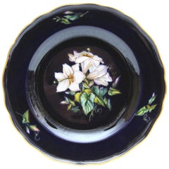 Big Meissen Porcelain Plate with Beautiful Flowers Painting in Cobalt Blue N4