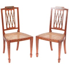 Fine Quality Pair of Original Painted Satinwood Side Chairs