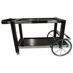 1980 This Modern Chrome and Black Oak Large Trolley Bar Cart
