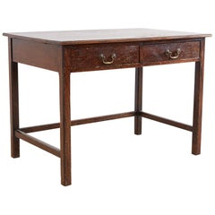 English Oak Two-Drawer Writing Table Desk