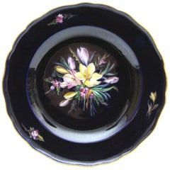 Big Meissen Porcelain Plate with Beautiful Flowers Painting in Cobalt Blue N3