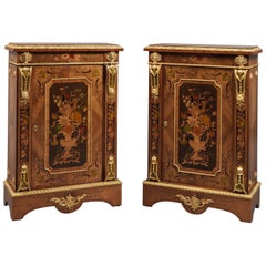 Pair of Marquetry Inlaid Walnut Pier Cabinets, circa 1870