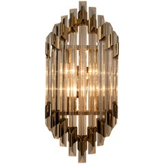 Large Venini Style Murano Glass and Brass Sconce Flush Mount, Italy