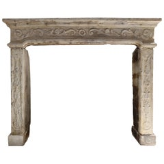 Antique French Fireplace of Limestone, 19th Century, Louis XIV