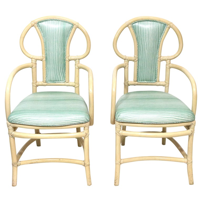 Pair of Rattan Armchairs, Willow and Reed, Midcentury, Brunschwig & Fils Fabric For Sale