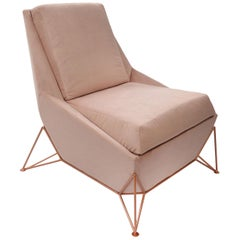 Contemporary Lounge Chair, Triarm in Velveteen Rose