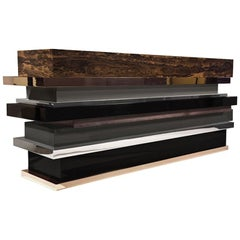 Lipstick Console 'Bronze, Stainless Steel, Walnut, Ziriciote, Lacquer' by Hudson