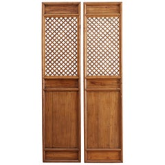 Pair of Chinese Carved Elm Lattice Door Panels