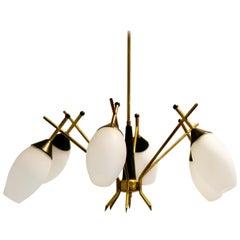 Brass Stilnovo Chandelier