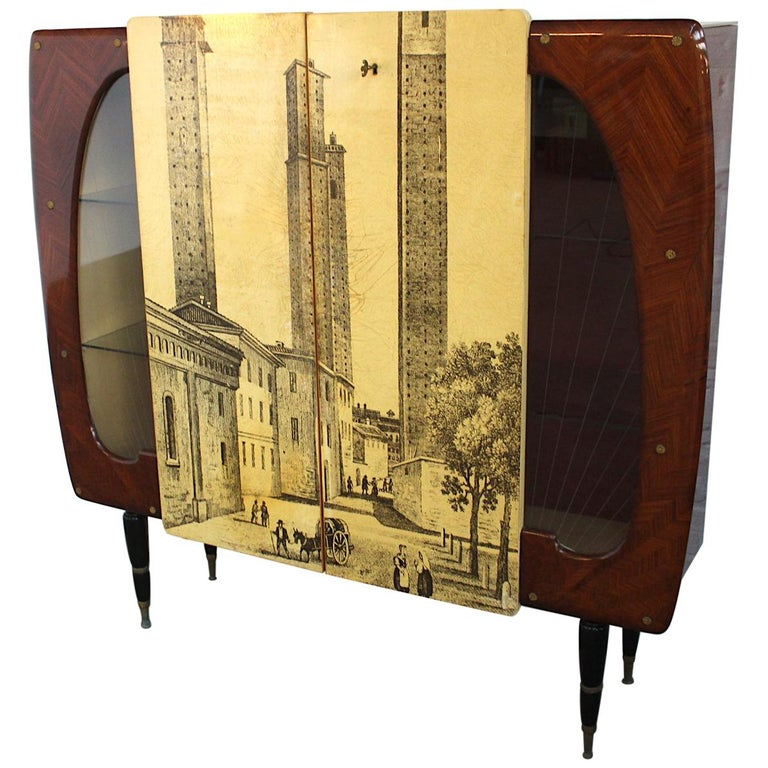 Piero Fornasetti Style High Cupboard Featuring the Medieval Twin Towers For Sale