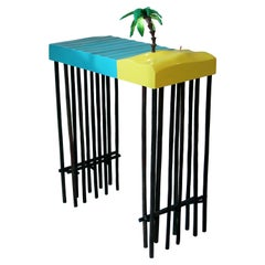 Contemporary Design Light, Side Table, Fiberglass and Black Alder, LED