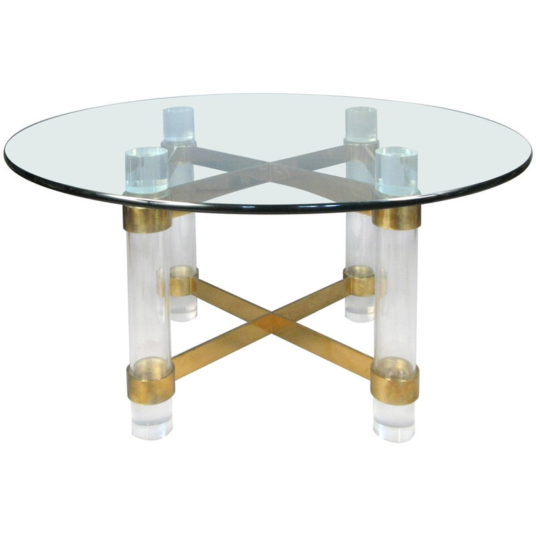 1970s Lucite and brass dining table by Charles Hollis Jones. For Sale