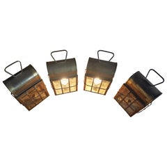 Set of 4 1970s Brass Lanterns