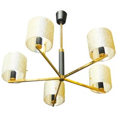 Maison Arlus Five-Arm Brass Chandelier with Spun Resin Shades