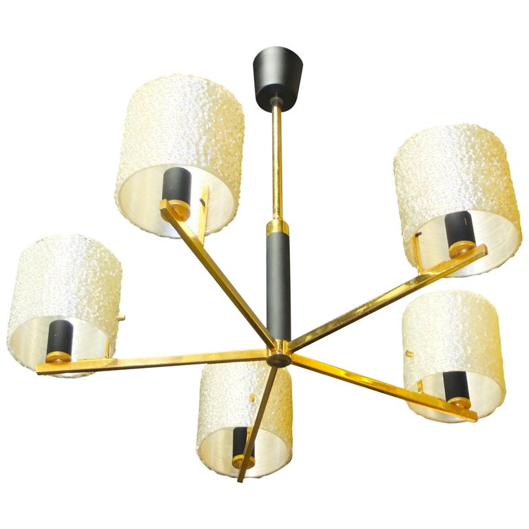 Maison Arlus Five-Arm Brass Chandelier with Spun Resin Shades For Sale