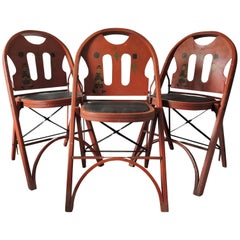 Red Folding Chairs by Louis Rastetter & Sons, set of 3, 1920s